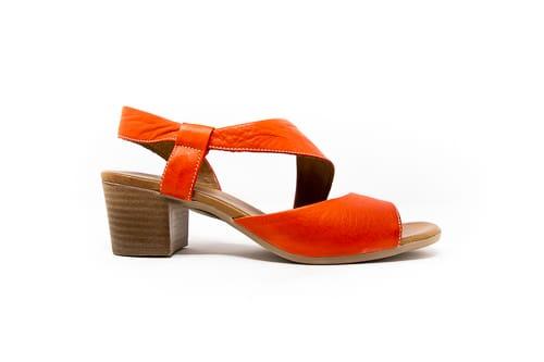 square heel red sandal