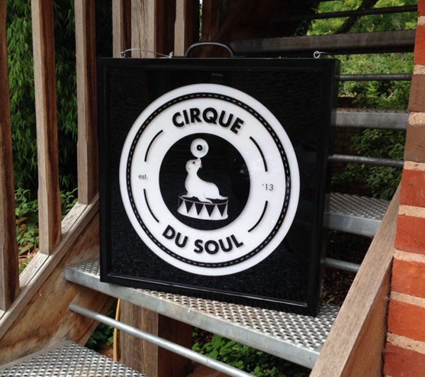 lightbox-cirque-du-sol - custom light box design - wood framed - black gloss