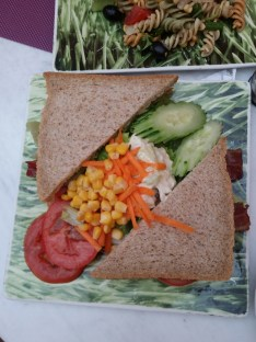 Lord Stow's version of BLT Sandwich is with salad in the middle.