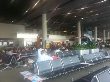 Waiting for boarding.