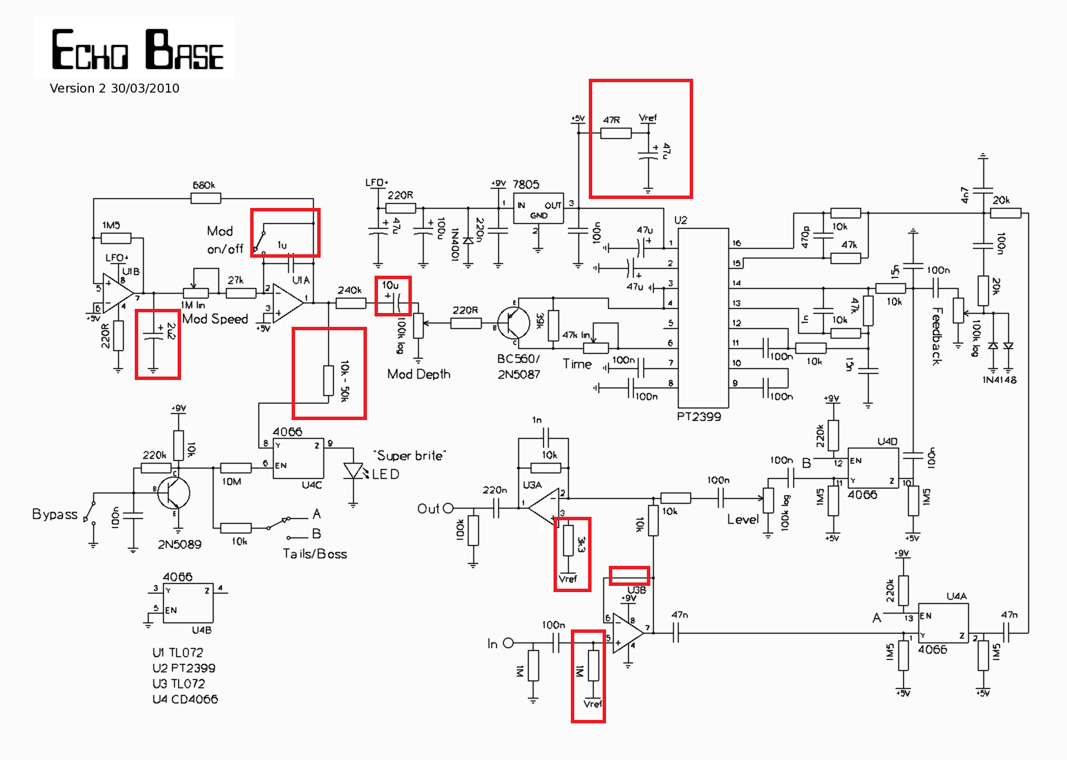 Pt2399 Delay Pedal Schematic