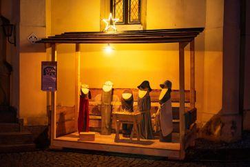 Der Stall zu Bethlehem vor der Pockauer Kirche
