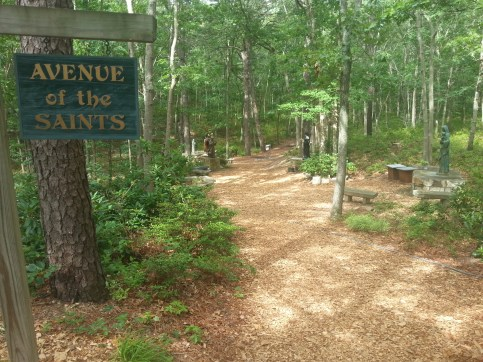 Padre Pio and Mother Teresa are some of the statues at the start of this trail. But I expected that there would be more spread out at the Shrine of Our Lady of the Island in Manorville, N.Y., on Sunday, July 10, 2016.