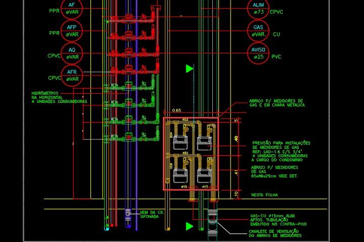 Detalhe de hidrômetros individuais de um projeto hidráulico