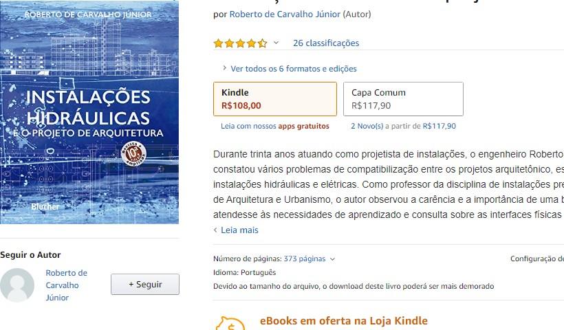 Indicação do livro instalações hidráulicas e o projeto de arquitetura do Roberto de Carvalho