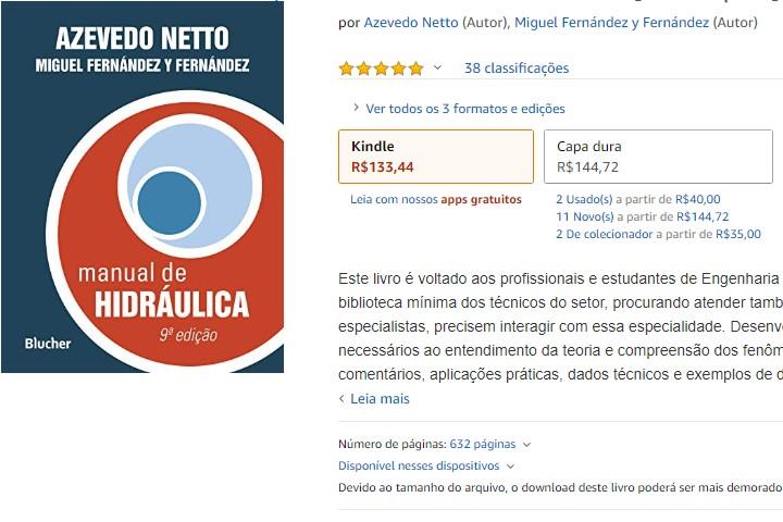indicação do livro manual da hidráulica do Azevedo Netto
