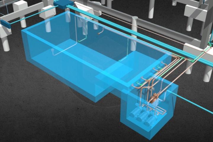 Projeto hidráulico com piscina
