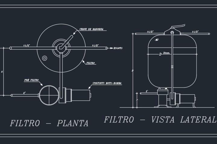 Detalhe de filtro de piscina em DWG