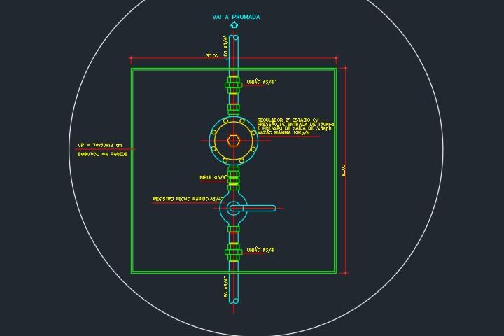 detalhe regulador de gás em dwg