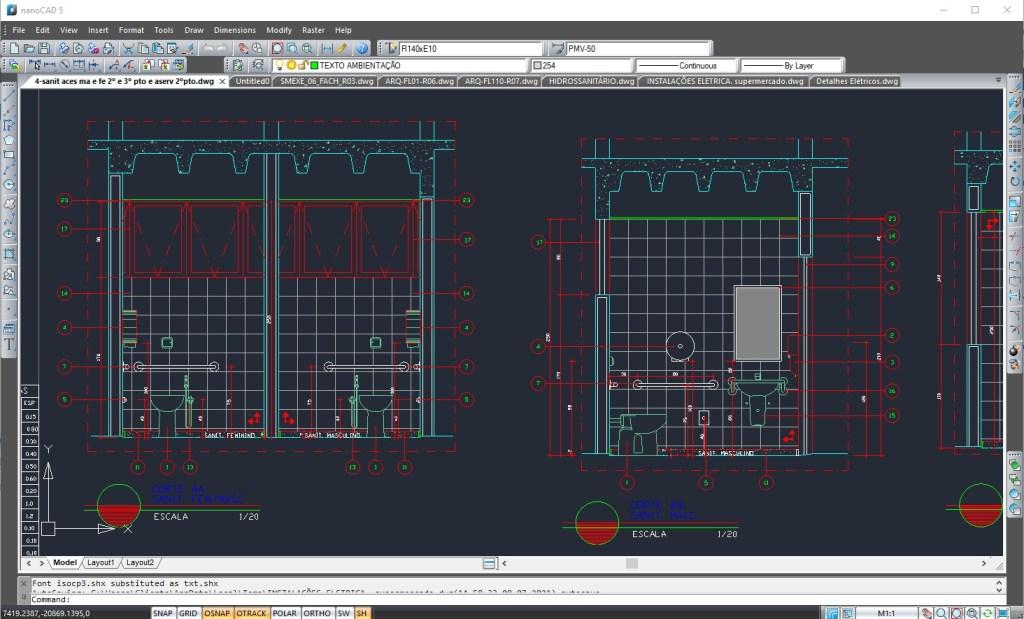 Projeto arquitetônico em programa similar ao AutoCAD