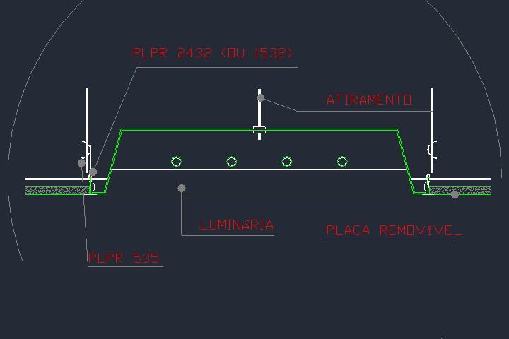 Detalhe de luminária em forro de gesso em dwg