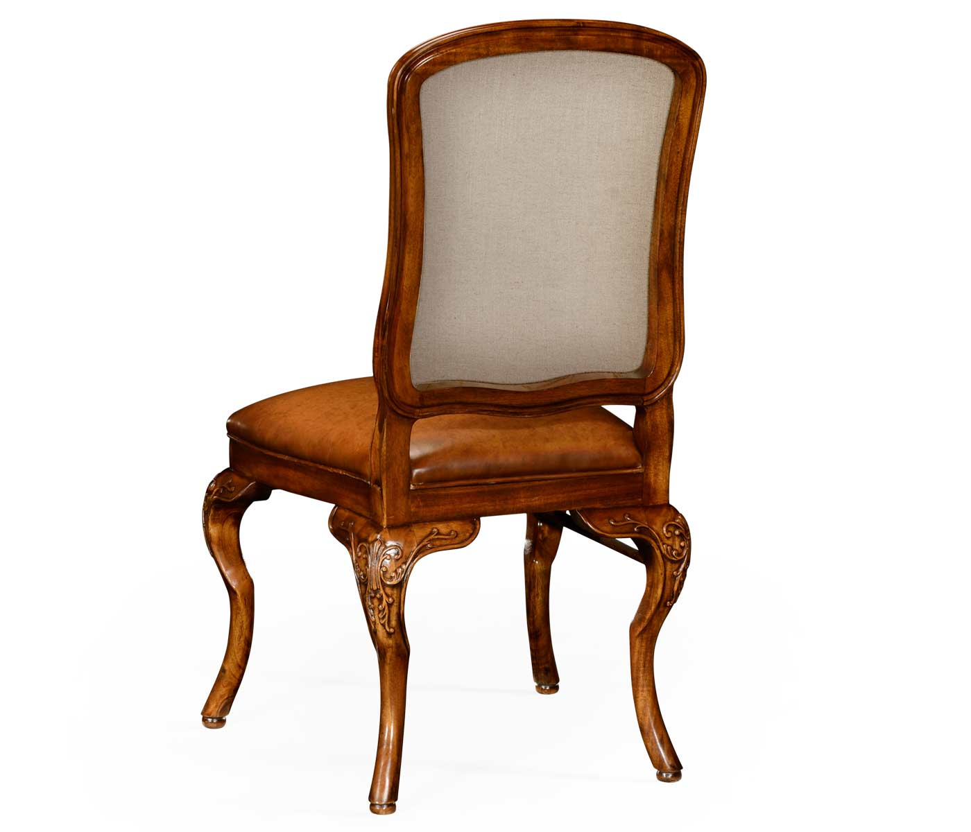 Leather Side Chair Walnut Side Chair With Dv Medium Antique Chestnut Leather