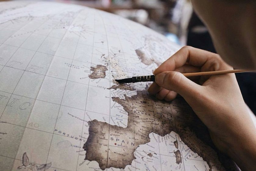 Bellerby & Co: 80cm globe with added illustrations & bespoke cartography including larger font
