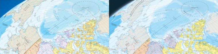Differences in sea ice between 2006 and 2015 maps of Canada