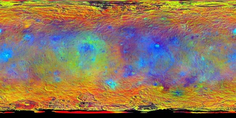 False colour compositional map of Ceres
