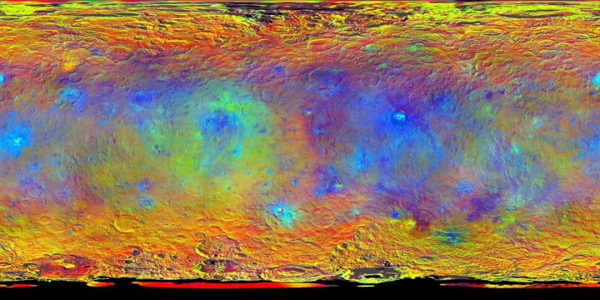 False colour compositional map of Ceres