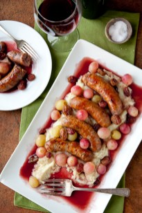 Sausages Al Vino with Red and Green Grapes