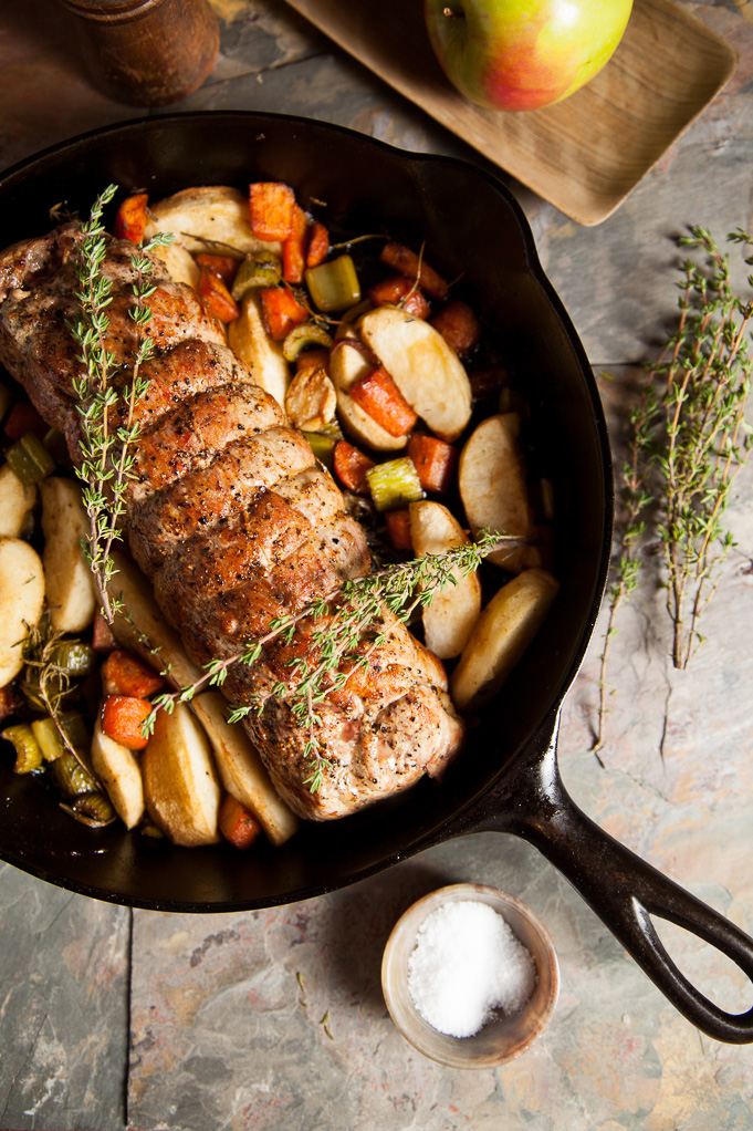 Rye Whiskey Pork Loin with Apples
