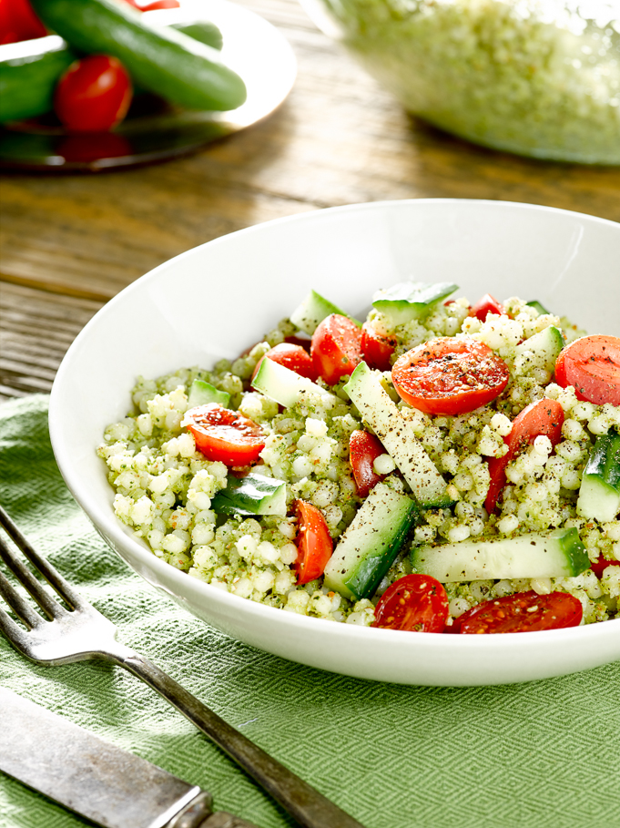 Couscous Salad with Broccoli Pesto