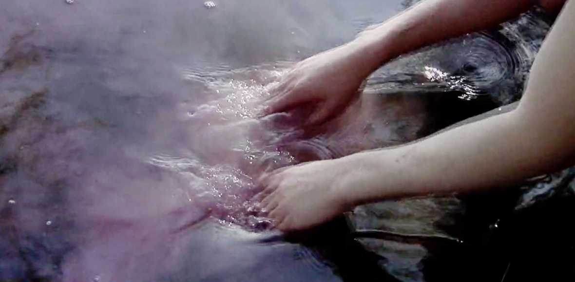A blurred screenshot of a pair of hands placed in purple water.
