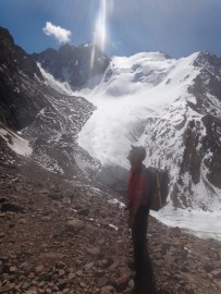 Your Author, Getting Ready for the scramble up Uchitel (Teacher) Pass. Photo: Chris