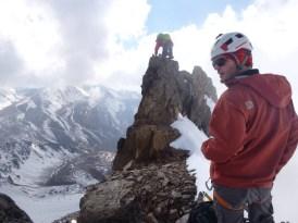 Chris mounts the summit while I look good. Photo: Bjorn