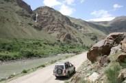 The Canyon between Ishkashim and Khorog, with Sailaubai's Pajero waiting patiently. Photo: Helen