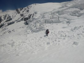 Route finding in avalanche debris on the way to Camp 1