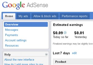 AdSense Account Screen