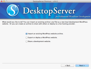 DesktopServer Site Import