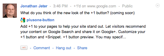 New Google+ +1 button preview