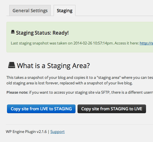 WP Engine Staging Area