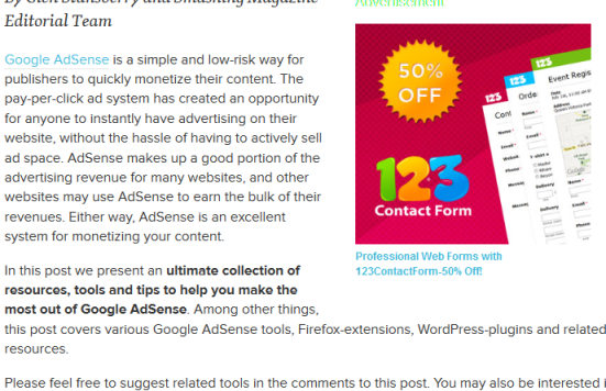 Smashing Magazine 300x250 ad unit in content example
