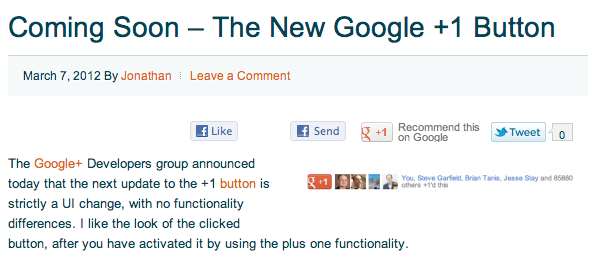 Preview of new Google+ +1 button on my site