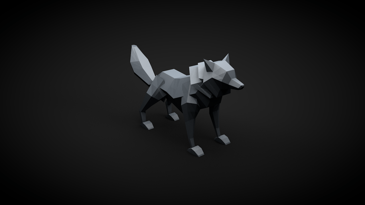 Free Low Poly Wolf With Rasendnger