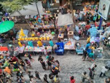 Songkran in Bangkok - Silom from above 11