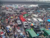 Songkran in Bangkok - Silom from above 4