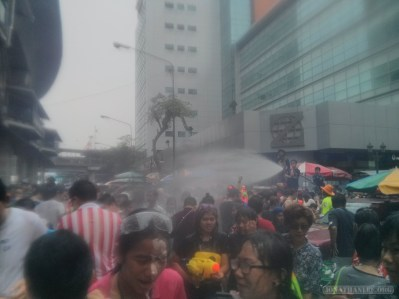 Songkran in Bangkok - Silom water cannon 1
