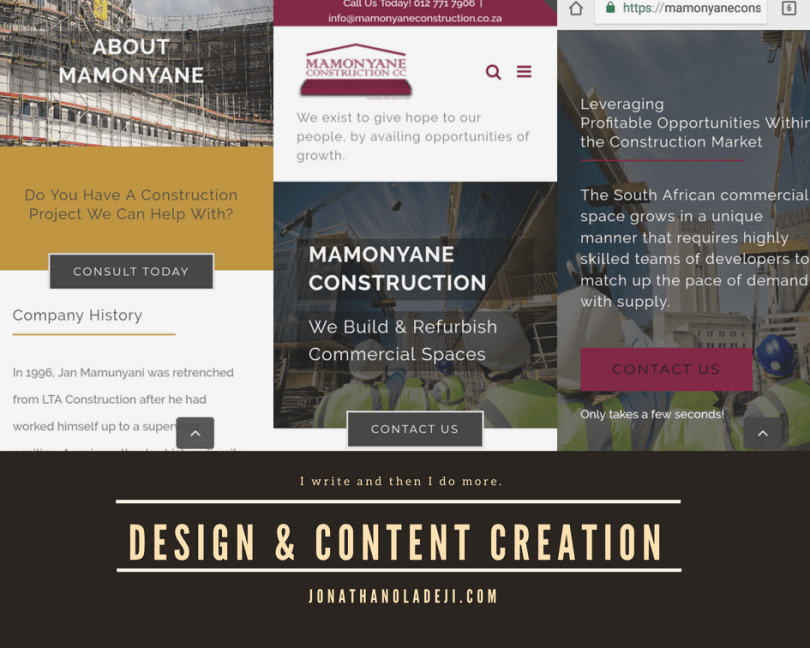 webcontent job for mamonyane construction