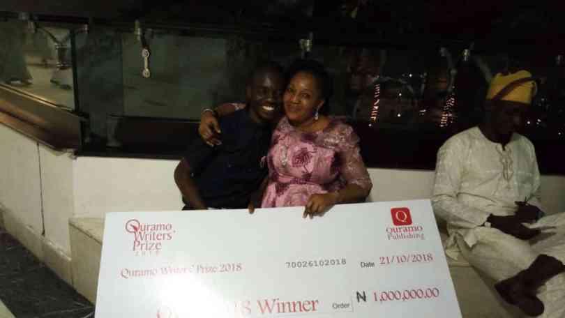 Michael winner of Quramo Writer's Award with Mom