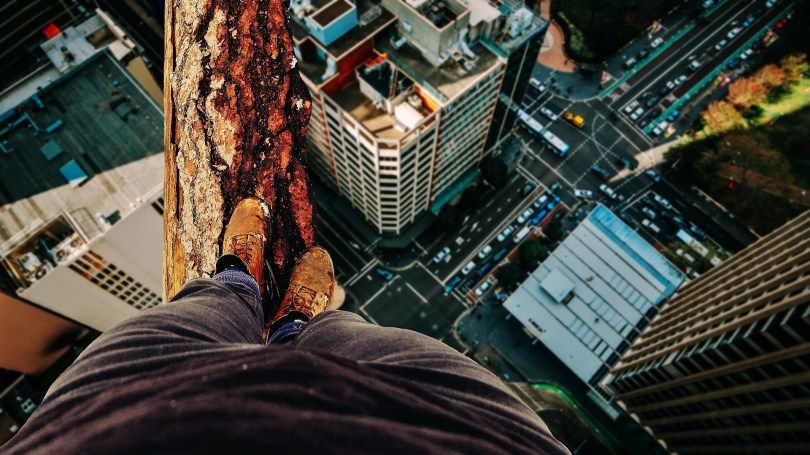 standing on a ledge with content marketing