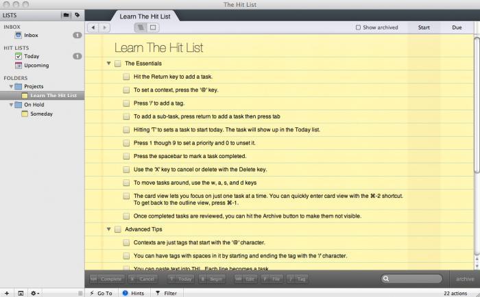 The Hit List Mac App