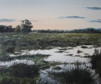 Floodwater at Coxwold- watercolour