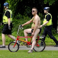 A nude cyclist in York for World Naked Bike Ride