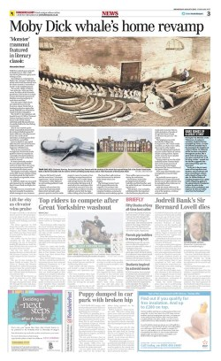 The whale skeleton that inspired Moby Dick in the Yorkshire Post Newspaper