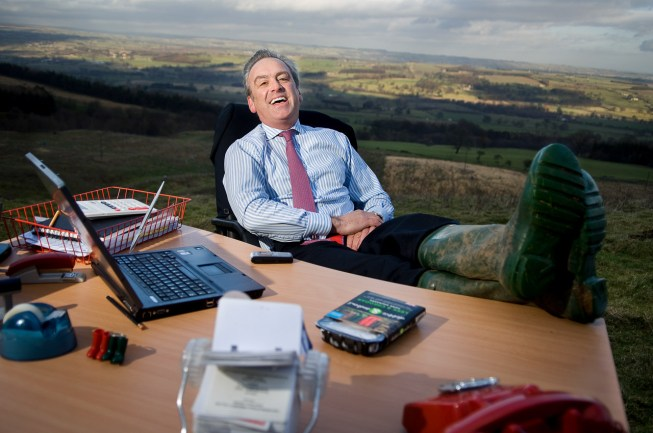 Andrew Keeble at his desk right in the middle of the North Yorkshire Moors