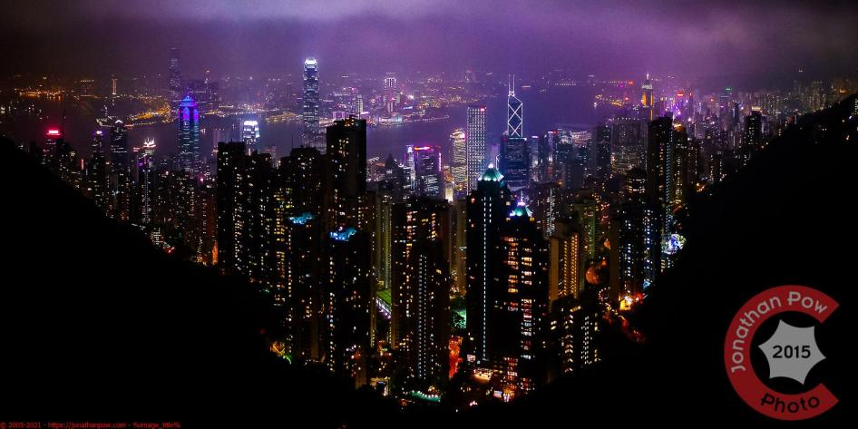 Night view of downtown Hong Kong, Victoria Harbour, and Kowloon from Victoria Peak