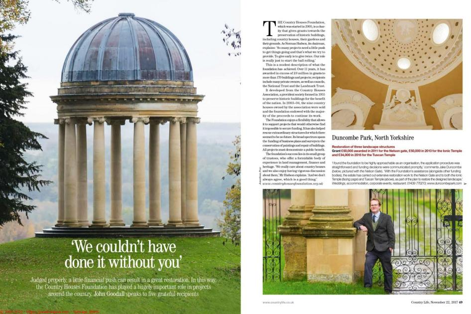 Country Life - Country Houses Foundation article by John Goodall - Photos of Jake Duncombe by Nelson Gate, the Ionic Temple and Tuscan Temple at Duncombe Park, North Yorkshire