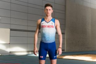 Great Britain Runner, Cameron Ross Boyek, poses for a photograph in his GB team kit