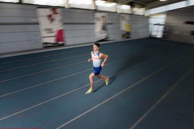 Cameron in training, running on the track, at Gateshead College Academy for Sport